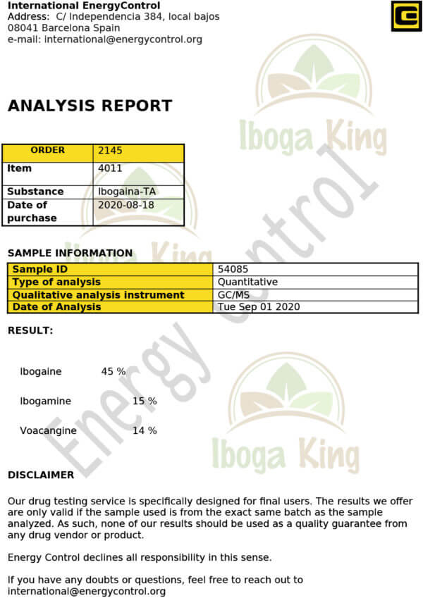 Iboga Ta Analyse Iboga King